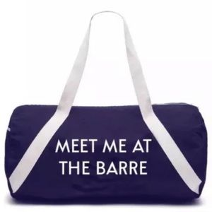 Meet Me at the Barre • Navy & White Duffel Gym Bag